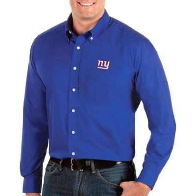 アンティグア Antigua メンズ シャツ トップス New York Giants Dynasty Button Down Royal Dress Shirt