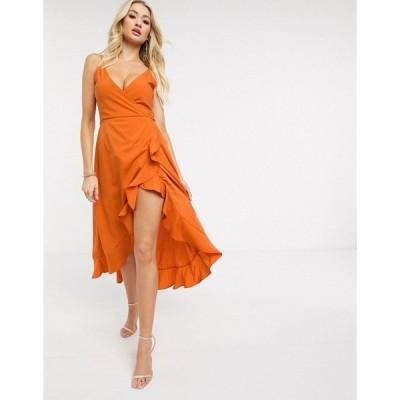 アックスパリ レディース ワンピース トップス AX Paris cami strap midi dress in orange Orange