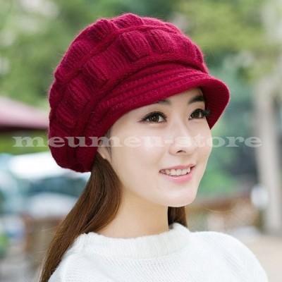 ニットキャスケット ニットキャップ ニット帽 つば付帽子 ニット キャスケット キャップ レディース 帽子 ぼうし 温か 防寒 模様編み 全8色 カジ
