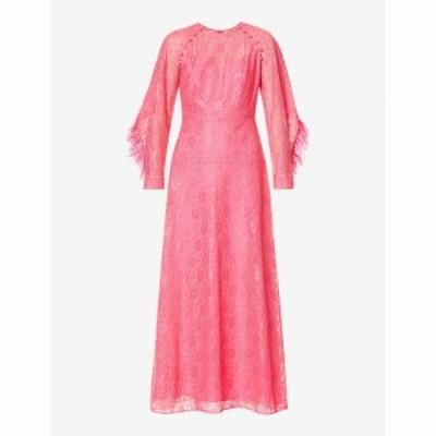 フーシャン ツァン HUISHAN ZHANG レディース パーティードレス ワンピース・ドレス Ludmilla floral lace and feather-trimmed silk-ble