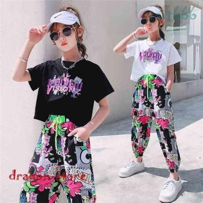 子供服セットアップキッズ女の子半袖2点セット上下セットTシャツ薄手ハーフパンツおしゃれカジュアル涼しい可愛い