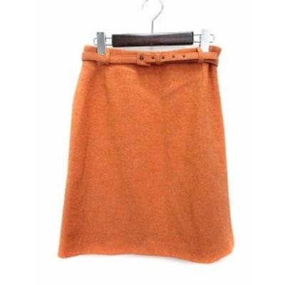 【中古】MAX MARA WEEKEND LINE スカート 38 M オレンジ ウール ひざ丈 無地 ツイード ベルト スリット レディース