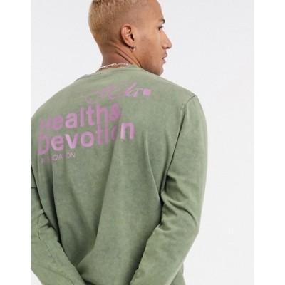 エイソス メンズ シャツ トップス ASOS DESIGN long sleeve t-shirt with health and devotion print in washed khaki