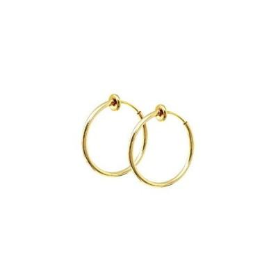 [Puente] ピアス穴不要 フェイクピアス 両耳セット シンプル 細め 細い ゴールド 20mm メンズ レディース ノンホールピアス イヤリング