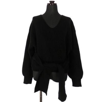 【中古】クラネ CLANE サイドリボン ニットトップス セーター 長袖 1 ブラック 黒 13106-1141 レディース 【ベクトル 古着】