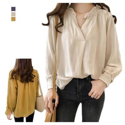 シャツ ブラウス レディース フレアシャツ Vネック 体型カバー 長袖 トップス ゆったり 着痩せ  送料無料