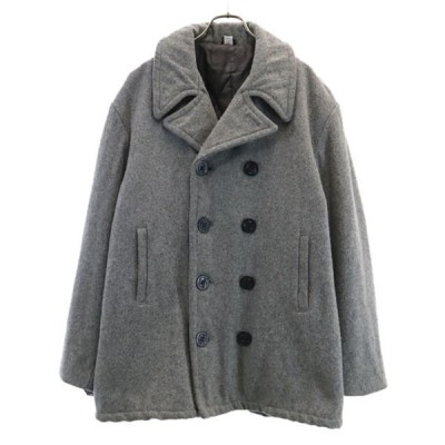 USA製 ピーコート L グレー  10ボタン ウールブレンド 中綿入り HECHO EN E.U.A メンズ 古着 201115