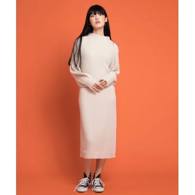 【アイモハ】 ルーズニットワンピース レディース ホワイト FREE aimoha