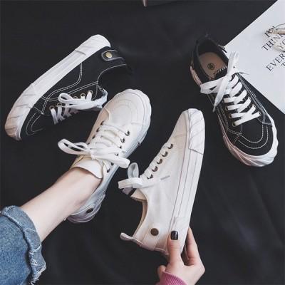 レディーススニーカー ズック靴 カジュアルシューズ ウォーキング 白黒 運動靴 フラットシューズ