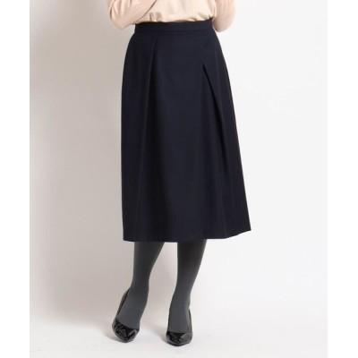SunaUna/スーナウーナ 【洗える】ストレッチタックフレアスカート ネイビー(093) 34(SS)
