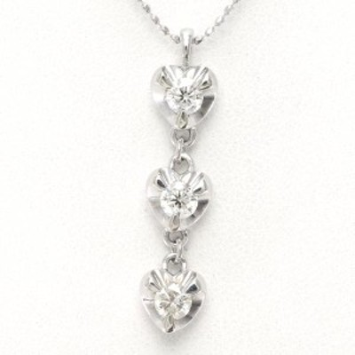 K18 18金 WG ホワイトゴールド ネックレス ダイヤ 0.47 カード鑑別書 総重量約4.8g 中古ジュエリー