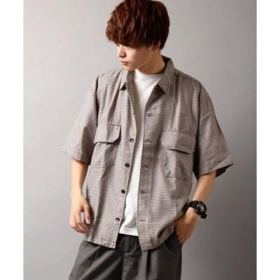 シャツ ブラウス 【NAIVEMAGIC】TRチェックビックポケットシャツJK