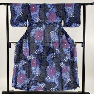 浴衣 美品 秀品 絞り浴衣 総絞り 草花 流水 紺色 身丈150.5cm 裄丈61cm S 綿 中古