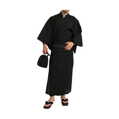 (アーケード) ARCADE 浴衣 メンズ 帯 下駄 扇子 巾着袋 5点セット 和装 夏 ゆかた LL 黒