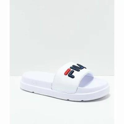 フィラ サンダル・ミュール Drifter Bold White, Navy and Red Slide Sandals White