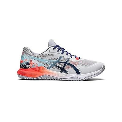 ASICS Men's Gel-Tactic Indoor Sport Shoes, 11.5, Glacier Grey/Sunrise RED