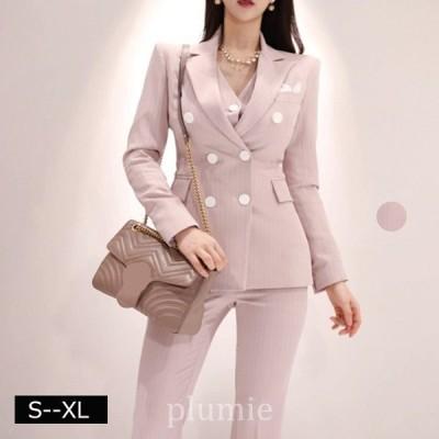 レディーステーラードジャケットスーツ長袖ジャケットピンク40代結婚式トップス韓国オフィス通勤OLカジュアルキレイめお呼ば