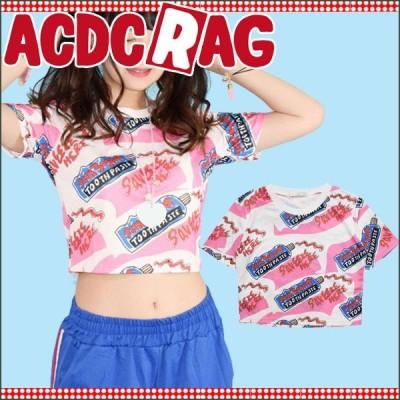 ACDC RAG エーシーディーシーラグ ハミガキコ ミニTシャツ ゆめかわいい ピンク 白 ホワイト 原宿系 韓国系 トップス/レディース