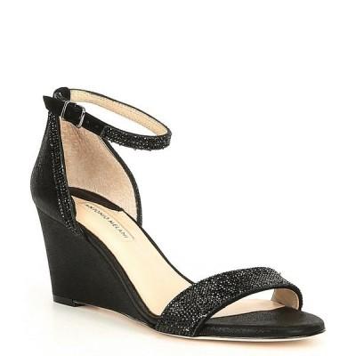 アントニオメラニー レディース サンダル シューズ Feenah Suede & Leather Jewel Embellished Evening Dress Wedges Black