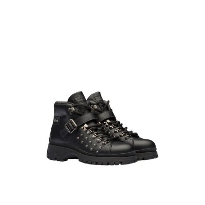 プラダ PRADA ブーティ ブーツ シューズ 靴 ネロ ブラック メタル スタッズ カーフレザー