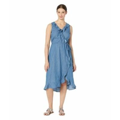 ECI レディース ワンピース トップス Sleeveless Ruffle V-Neck Denim Chambray Dress Light Blue