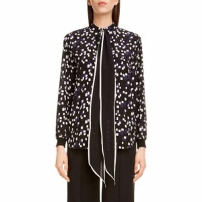 ジバンシー GIVENCHY レディース ブラウス・シャツ トップス Square Print Logo Tie Neck Silk Blouse Black Navy