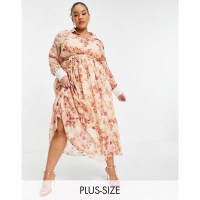 ホープアンドアイヴィー Hope & Ivy Plus レディース ワンピース collared shirt dress with wrap tie and drop hem in blush floral