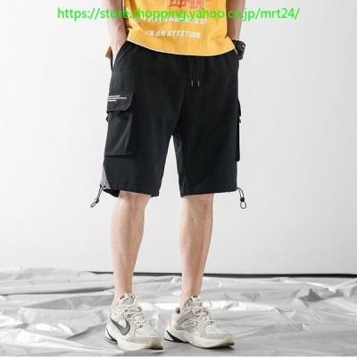 ハーフパンツ ボトムス メンズ 男性 ショートパンツ 短パン ウエストゴム 脚口ゴム 左右ポケット ゆったり 春夏 カジュアル お出かけ 外出 ブラッ