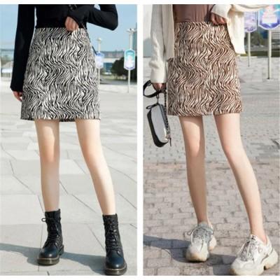 超人気の新型の女性 ゼブラスカート 秋冬 Aラインショートスカート  着痩せ ハイウエスト  スカート 大きいサイズ  ヴィンテージスカート