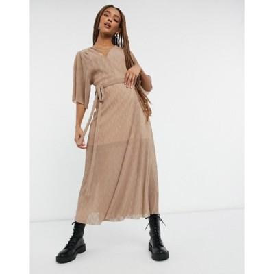 リクオリッシュ レディース ワンピース トップス Liquorish wrap midi crinkled dress in beige