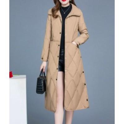 ダウンコート ダウンジャケット 中綿コート 中綿ジャケット アウター フード無し 襟付き 膝下丈 大きいサイズ シンプル 細見 暖かい 防寒