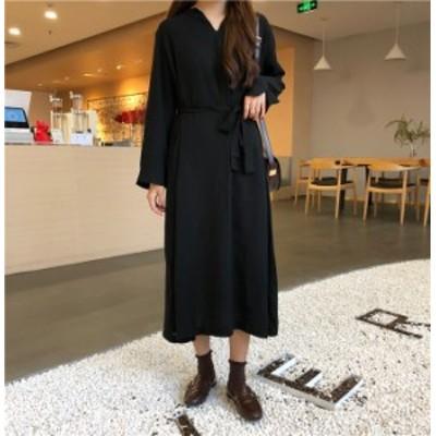 ワンピース スカート ロング カジュアル ガーリー 無地 長袖 シンプル デート Vネック  韓国ファッション レディース リボン