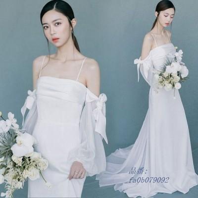 ホワイト ウェディングドレス サテン 結婚式ドレス ボートネック オフショルダー 花嫁 プリンセスドレス お洒落 パフスリーブ ドレス キャミ 披露宴 リボン