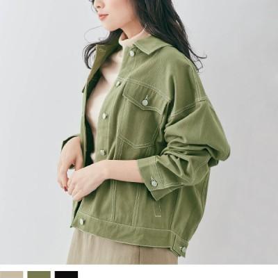 大きいサイズ レディース 服 カジュアル ステッチ ツイルジャケット