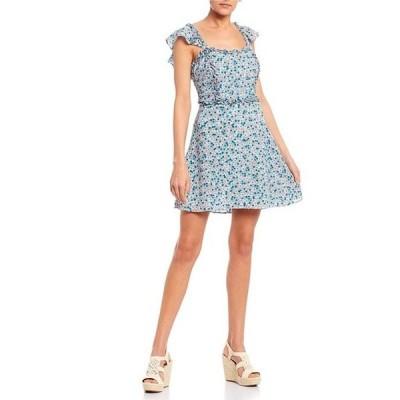 ビーダーリン レディース ワンピース トップス Square Neck Ruffle Trim Ditsy Floral Dress