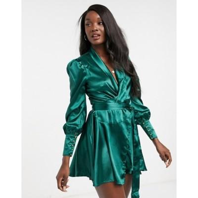 クラブエル ロンドン レディース ワンピース トップス Club L London cuffed sleeve satin mini wrap dress