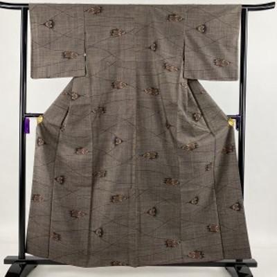 紬 美品 秀品 草花 幾何学 焦茶色 袷 身丈160cm 裄丈62cm S 正絹 中古