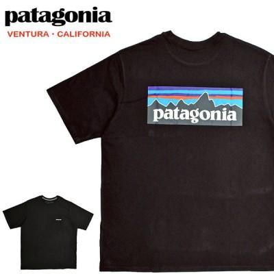Patagonia パタゴニア Tシャツ 38512 ロゴ メンズ P-6ロゴ レスポンシビリティー 半袖Tシャツ ブラック (メール便対応)