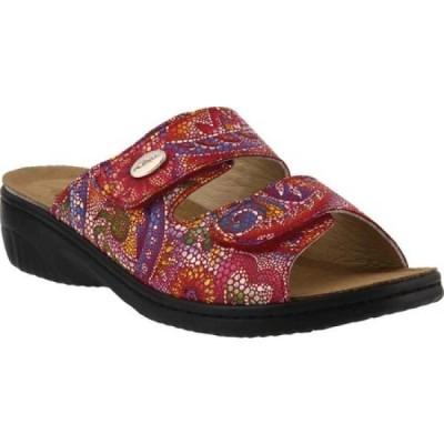 スプリングステップ Flexus by Spring Step レディース サンダル・ミュール スライドサンダル シューズ・靴 Bellasa Slide Sandal Red Multi Leather