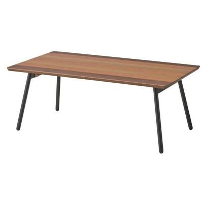 木目調フォールディングテーブル/折りたたみローテーブル (幅90cm) スチール脚 『エルマー』 END351