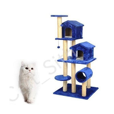 YI GAO Multi-Layer Luxury cat Climbing Frame cat Scratch Board cat Tree Blue cat Jumping Platform Springboard pet Toy cat Toy @[並行輸入