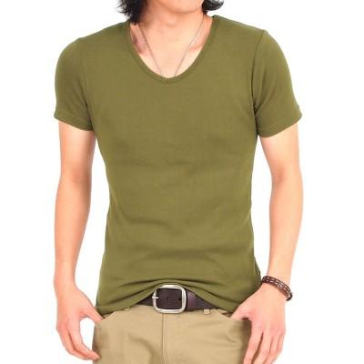 (TopIsm/トップイズム)半袖&7分袖ストレッチ無地スリムTシャツ/メンズ カーキ