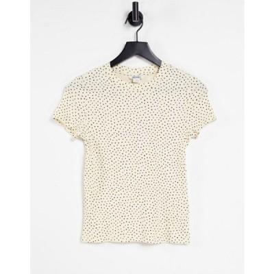 モンキ レディース シャツ トップス Monki Magdalena organic cotton spot fitted print t-shirt in yellow