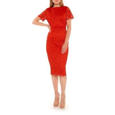 アレクシアアドマー レディース ワンピース トップス Delora Lace Sheath Dress RED