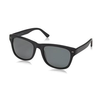 女性または男性用黒曜石サングラス偏光スクエアフレーム04、マットブラック、54 mm