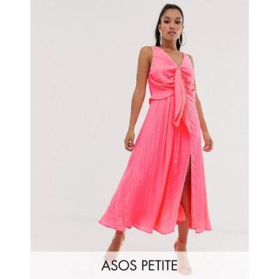 エイソス ASOS Petite レディース ワンピース ワンピース・ドレス ASOS DESIGN Petite knot front pleated maxi dress Bright pink
