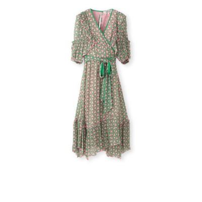 【Diane von Furstenberg】グリーンプリントドレス