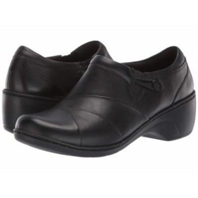 Clarks クラークス レディース 女性用 シューズ 靴 クロッグ Channing Ann Black Leather/Enamel Button【送料無料】