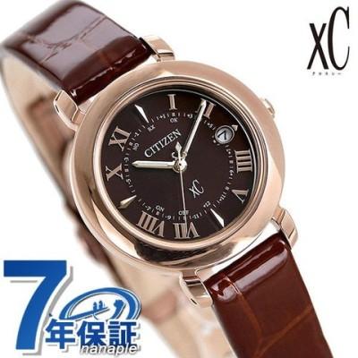 シチズン クロスシー エコドライブ電波時計 チタン レディース 腕時計 ES9442-04W CITIZEN xC ヒカリコレクション ブラウン 革ベルト