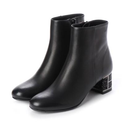 メルモ MELMO デザインヒールショートブーツ (ブラック)